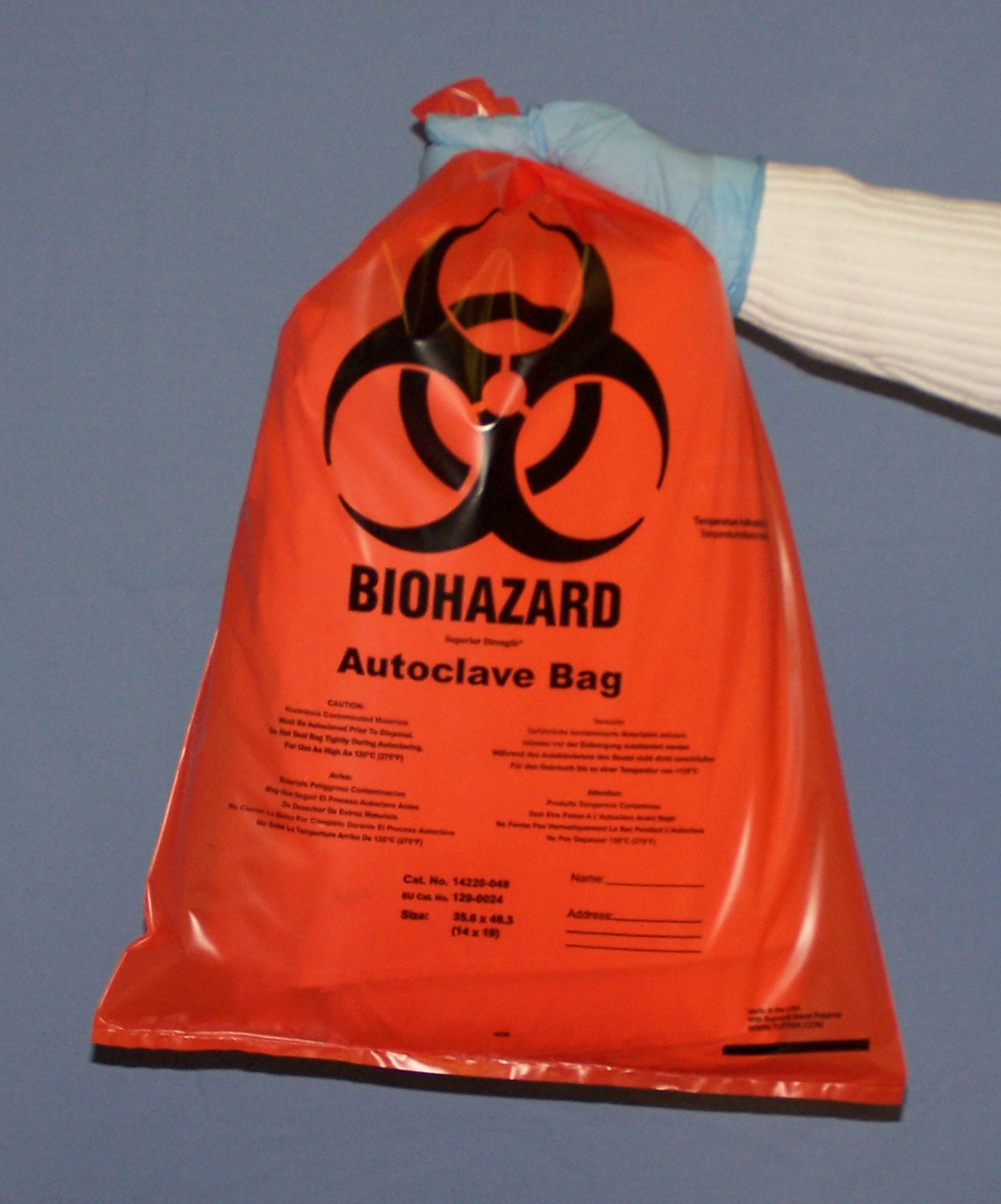 BIOHAZARD AUTOCLAVE BAGS 8X12 IN. ORANGE