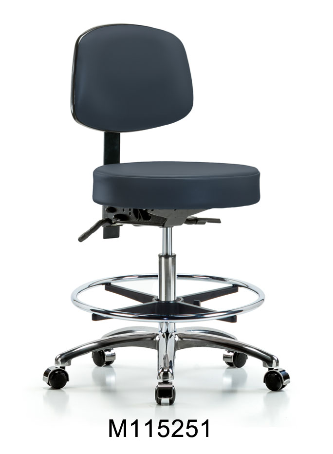 Vinyl Med Hi Stool w Back CR CF CC