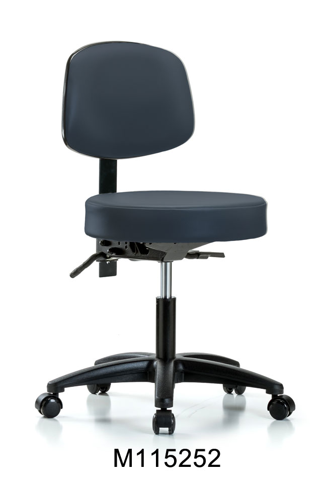 Vinyl Desk Hi Stool w Back RG Casters