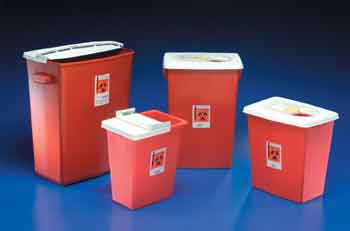 8 GALLON RED SHARPS CONTAINER W/ HINGED LIDS